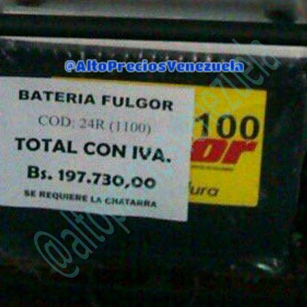 Batería para carros a nuevos precios de infarto madurista  http://www.facebook.com/pages/p/584631925064466