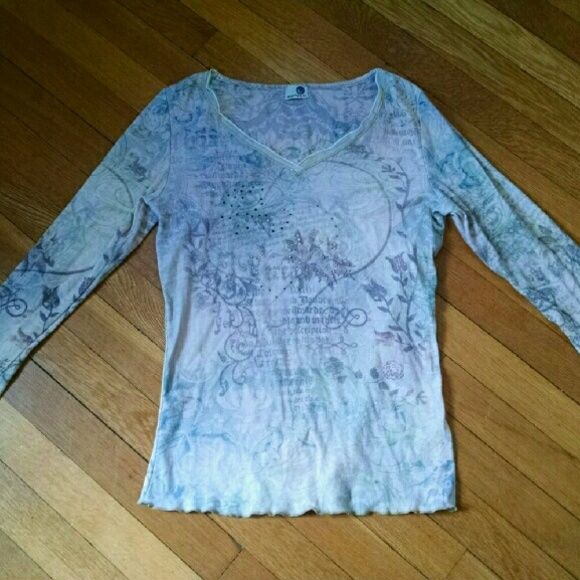 WEEKEND SALE! Embellished long sleeve tee shirt Printed embellished long sleeve tee.  Excellent condition.  No stains,  rips etc. ONE WORLD Tops Tees - Long Sleeve