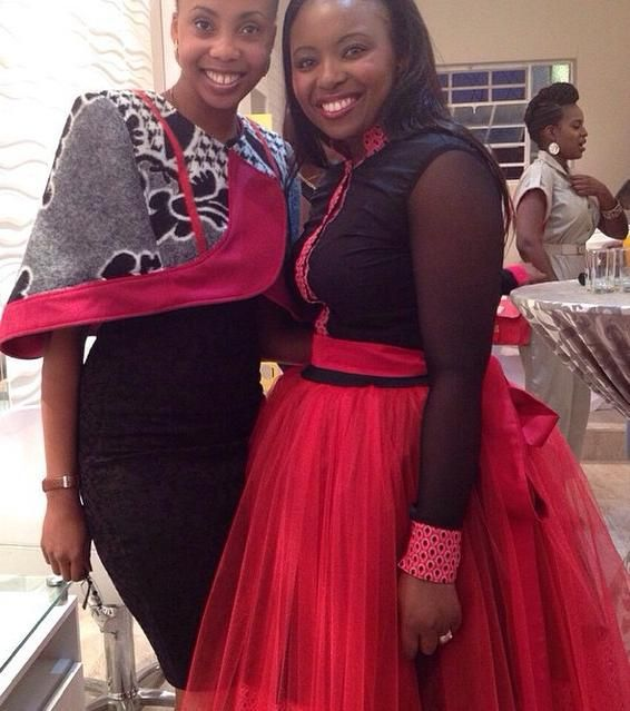 Thabo Makhetha(left) wearing her own shweshwe design