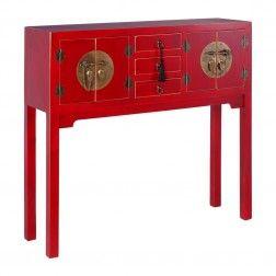 Mueble Chino Consola Rojo Rubí 4 puertas
