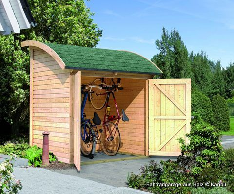 karibu fahrradgarage aus holz haus au en pinterest fahrradgarage fahrradbox und holz. Black Bedroom Furniture Sets. Home Design Ideas