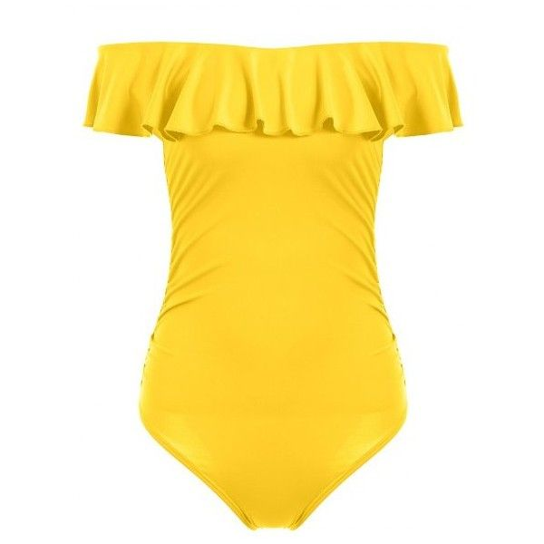 Off The Shoulder Ruffle One Piece Swimwear Yellow ($13) ❤ liked on Polyvore featuring swimwear, one-piece swimsuits, one piece bathing suits, yellow bathing suit, off the shoulder bathing suit, off-the-shoulder swimsuits and yellow one piece bathing suit