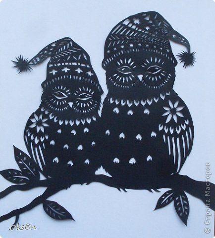 Картина, панно, рисунок Вырезание, Вырезание силуэтное, Вытынанка: Совушки Бумага 23 февраля. Фото 4