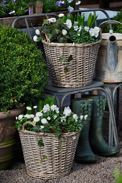 Love baskets and white flowers