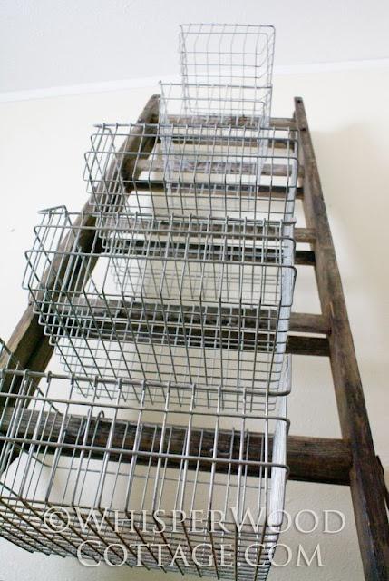 WhisperWood Cottage: Vertical Storage With Vintage Wire Baskets U0026 An Antique  Ladder