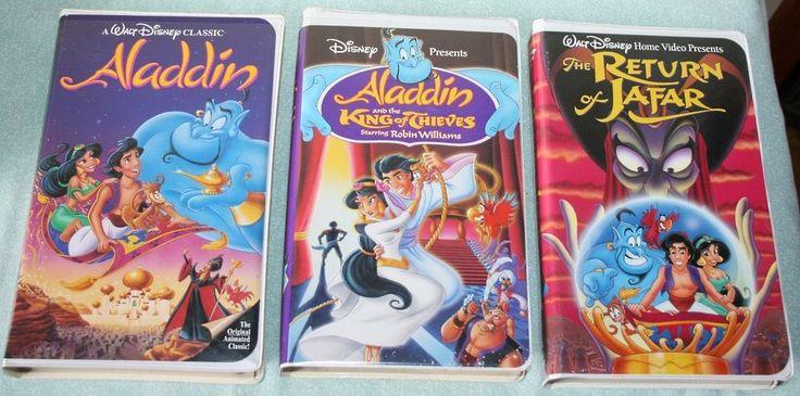 3 VHS Lot - Disney Family Movies - Aladdin, The Return of Jafar, King of Thieves