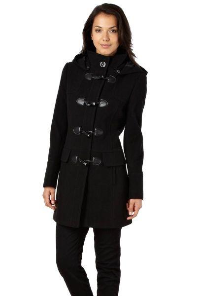 Černý vlněný kabát s kapucí LINEA | Obchod Moda.cz
