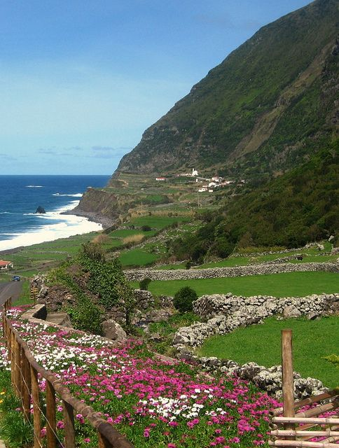 West coast of Flores Island, Azores, Portugal (by Neil F King).