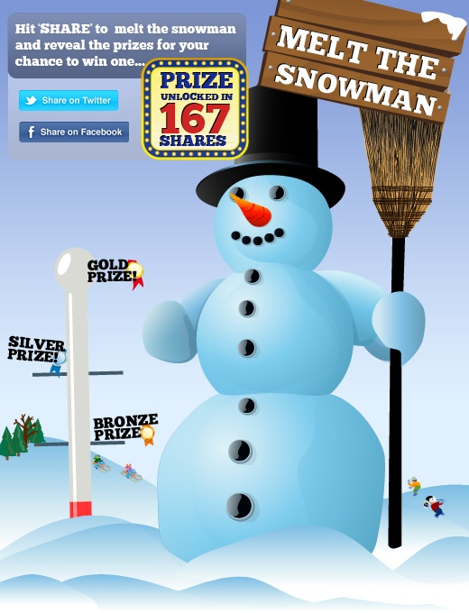 Melt the Snowman Facebook game. Simple - melt the snowman, reveal prizes, share and win... on Facebook!