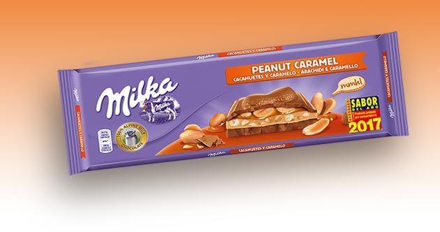 La nueva tableta Milka Caramelo y Cacahuetas de la empresa Mondelez ha sido galardonada con el sello Sabor del Año 2017, en la categoría de chocolates.