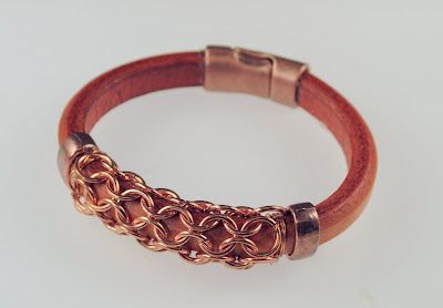 leather and chainmaille bracelet