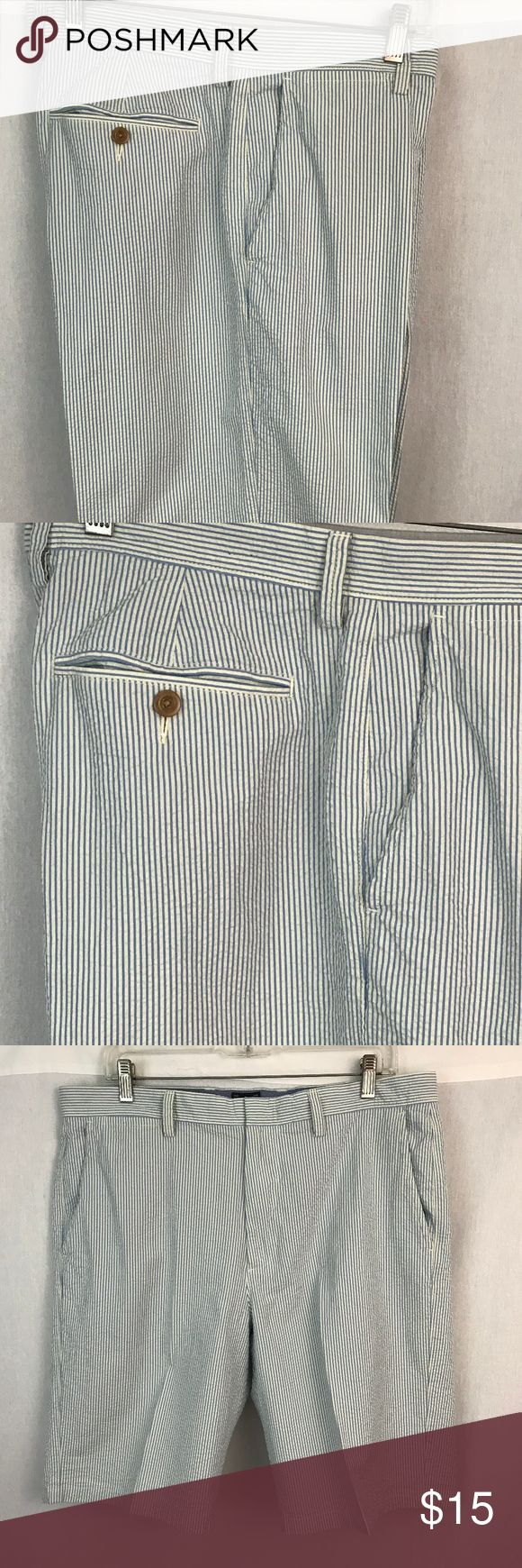 "J. Crew Club Men's Shorts Seersucker Stripe Blue Excellent pair of J. Crew Club casual shorts.  Blue, white pinstripe seersucker.  Lightweight.  Classic.  Flat front.  Size 35.  Great pre-owned condition.  No holes or stains.    Waist = 17.7.5"" measured flat.  Inseam - 10.5"".  Rise = 12"".  Thanks for looking and please feel free to ask questions. J. Crew Shorts"