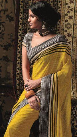 YellowFashion.in — Yellow colour chiffon material casual sarees : radhe collection - yf-11615 | Casual sarees