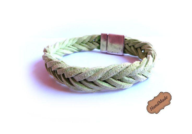 Bracciale UOMO braccialetto treccia a 8 cordini in pelle VERDE , by «:::Mosquitonero Shop:::», 7,99 € su misshobby.com