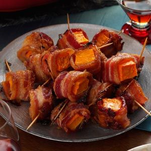 Great as an #appetizer or as a side dish. #Bacon-Wrapped Sweet Potato Bites. #paleo