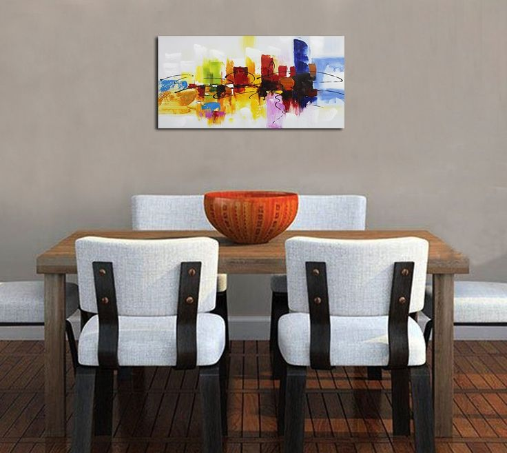 Fokenzary Hand Painted Colorful Abstract Painting on Canvas Bright Lihgt Red Green Blue Wall Decor Framed Ready to Hang: Amazon.co.uk: Kitchen & Home