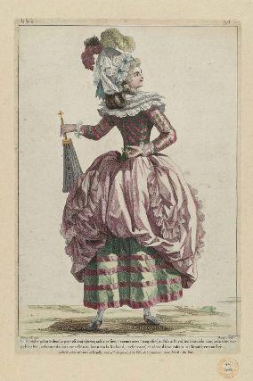 """Gallerie des Modes et Costumes Français. 46e Cahier de Costumes François, 41e Suite d'Habillemens à la mode en 1785. bbb.293 """"La Nymphe galante dont le port est majestueux...""""  French, 1785"""