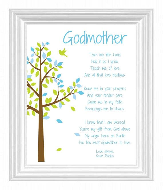 Godmother Gift Personalized Godmother Print By