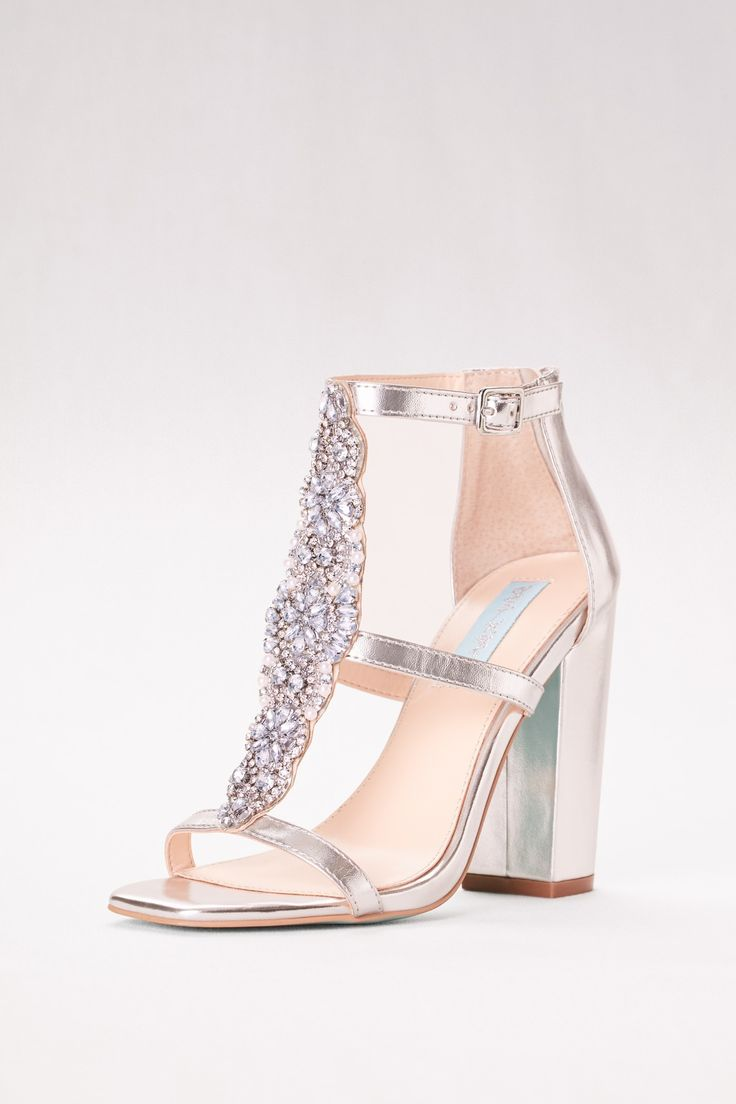 This block heel will allow you to dance all night in comfort and style! | Crystal T Strap High Heel Block Sandals by Blue by Betsey Johnson available at David's Bridal