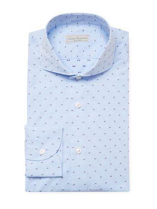 Embroidered Cutaway Collar Dress Shirt by Antica Camiceria | light blue | Gilt