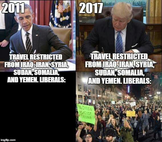 This shows the stupidity of the protesters... why didn't they protest back then....oh that's right, its only because they hate Trump... damn liberals