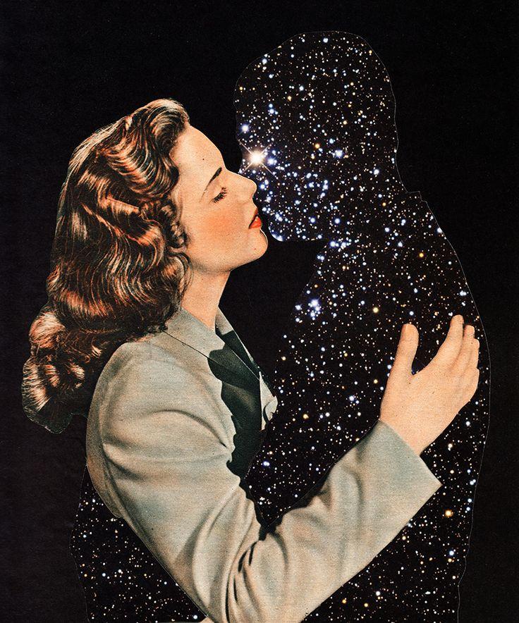 BASIATION [noun] the act of kissing. Etymology: Latin bāsiātus. - Starry sky representing silhouette. Very space-like art.