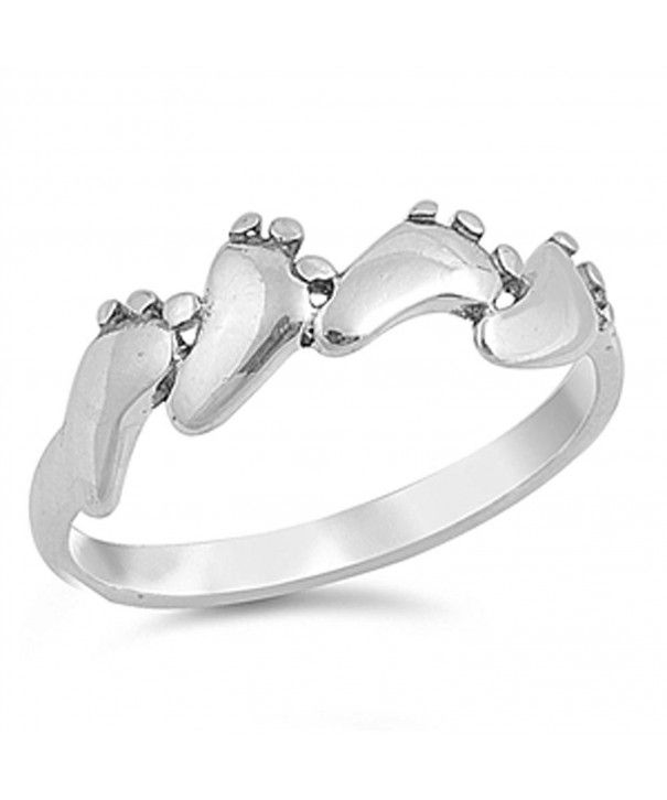 Baby Feet Foot Footprint Ring New 925 Sterling Silver Band Sizes 3 10 Cf1297daa3h With Images Sterling Silver Bands Mothers Ring Band Sterling Silver Rings