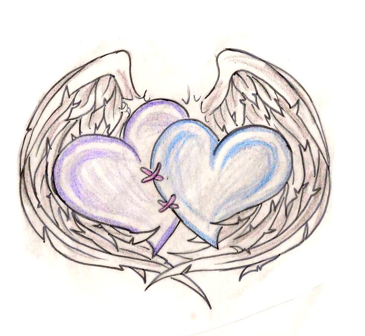 100+ Best Angel Wing's Surrounding A Heart/memorial Tattoo