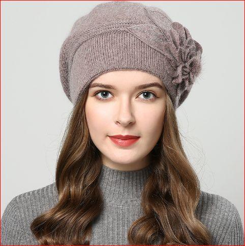 hat Berets with balaclava Women's cap gorros rabbit fur hats for women's knitted beanie beanies #HatsForWomenCaps
