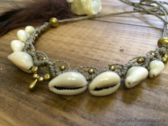 Macramé Necklace Tiara with Healing White Agate Brass and Cowrie Shell � Gypsy Bohemian � Hippie � Native