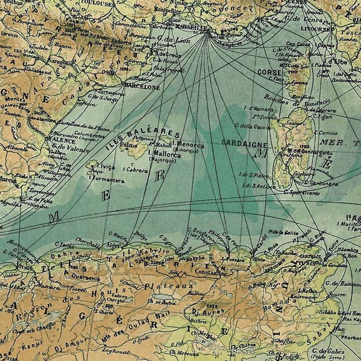Antique Map Mediterranean Basin 1889 9 best