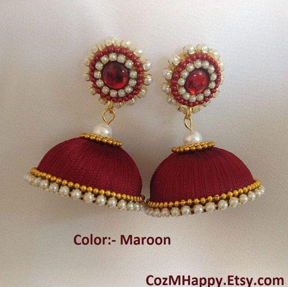 Maroon Jhumkas, deep red jhumkas, silk thread jhumkas, by CozMHappy
