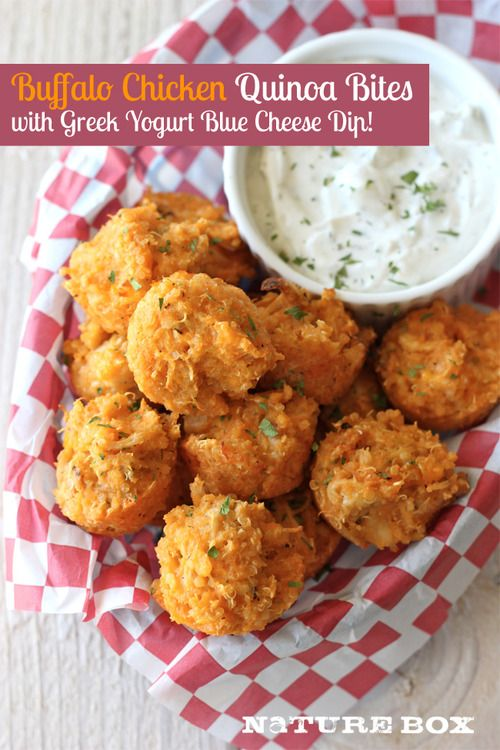 Buffalo Chicken Quinoa Bites with Greek Yogurt Blue Cheese Dip #HealthyLiving #Dinner #Recipes
