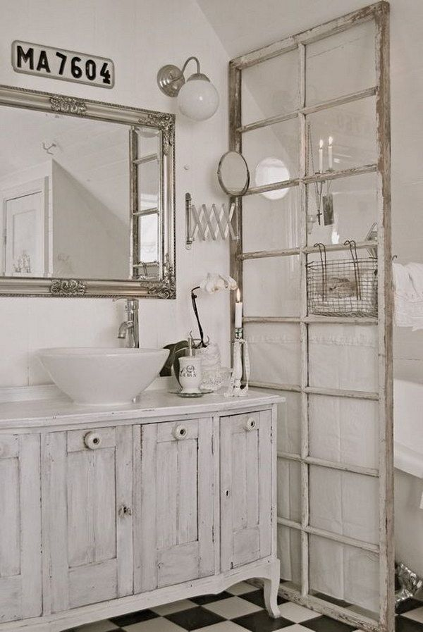 Old French Door For Bathroom Dividing This Is A Fabulous Idea For Using French Doors I Know Now How To Use The Door I Have 17 White Shabby Chic