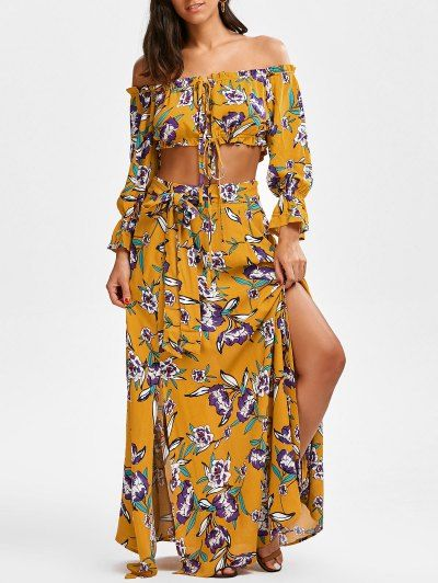 String Floral Cropped Top And Belted Maxi A-Line Skirt - Floral For Fashion Lovers only:80,000+ Items • New Arrivals Daily Join Zaful: Get YOUR $50 NOW!  Fashion| Clothes| Summer Fashion | Off the Shoulder | Skirts | Wide-leg Pants