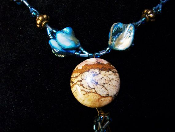 Jasper and Blue Mother of Pearl Shell Necklace by Dare2beUNIQUE on Etsy