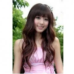 $9.25 Cute Princess Neat Bang Fluffy Long Curly Wig--Common Hair