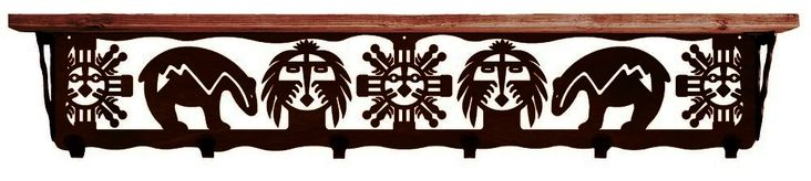 Bear Fetish Southwest 6 Hook Metal Wall Shelf 42 inch, ironwood industries, metal wall shelf, southwest wall decor southwestern decor rustic wood shelf coat hooks american made usa