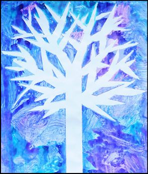 Winter Tree Silhouette Craft - use masking tape to make a tree and then paint.  Remove the tape and admire your tree.