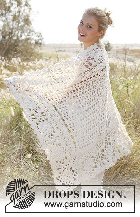 "Free Pattern  Olivia by DROPS Design Crochet DROPS blanket with squares and fan pattern in ""Big Merino""."