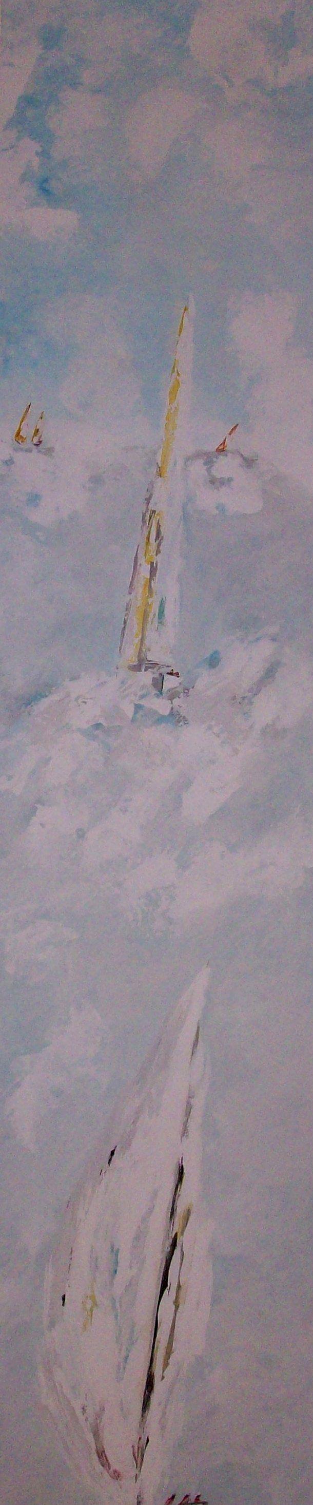 Toda la mañana trabajando para pintar este tríptico con veleros -Y a la venta en mi web - parte 3 http://www.goloviartecuadros.es/