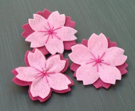 felt sakura  CUTE to attach to hair pins or as an embellishment to felt or sewing project