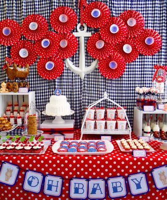 .Oh Sugar Events: Retro Baby Shower or many components could be used for a nautical baby's first birthday