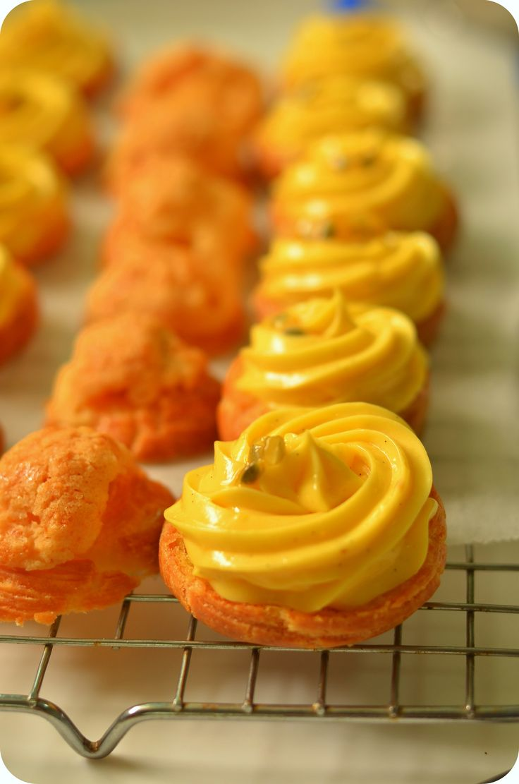 piped choux pastry with passion fruit creme pat