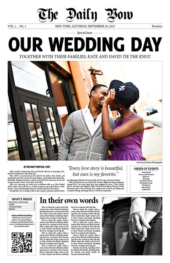 My Etsy shop for Newspaper Wedding Programs