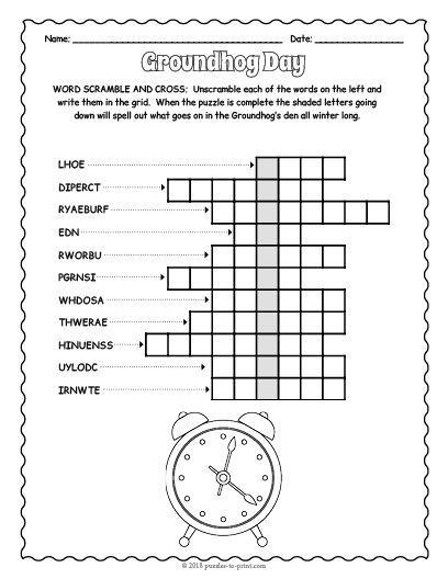Groundhog Day Word Scramble Puzzle Crosswords For Kids Groundhog