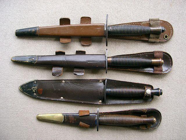 Different models of the Fairbairn- Sykes fighting knife.