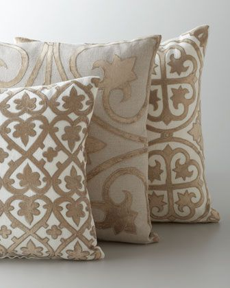 """Ivory & Taupe """"Venice"""" Collection Pillows at Horchow."""