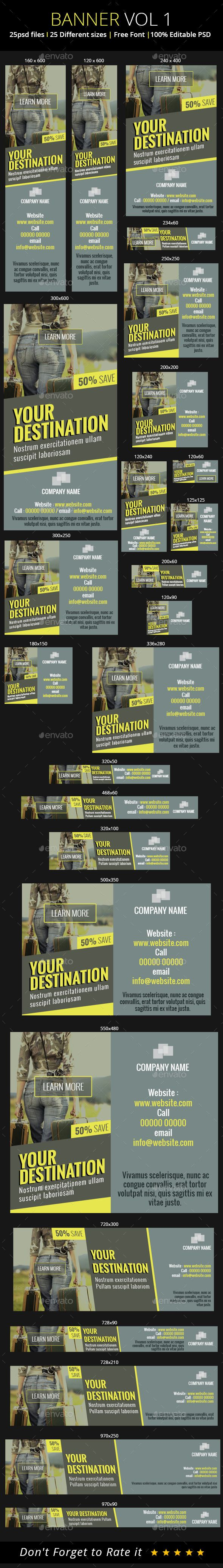 Tour & Travel Banners Template PSD | Buy and Download: http://graphicriver.net/item/tour-travel-banners/8982158?WT.ac=category_thumb&WT.z_author=mywonderlense&ref=ksioks