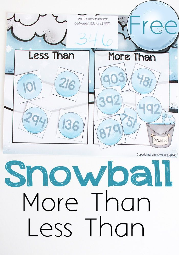 Learning greater than/less than has never been more fun! This snowball math game is a great way to practice number order. Fun math game winter.